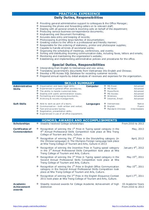 Resume Skills Fresh Graduate Cv Resume Sle For Fresh Graduate Of Office Administration