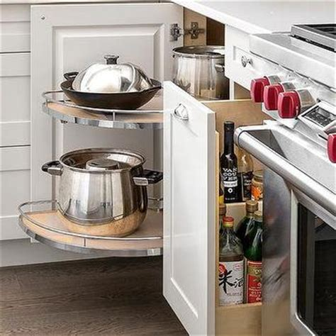 Rotating Corner Cabinet by Built In Spice Rack Next To Stove Design Ideas