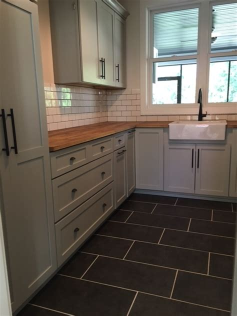 transitional kitchen tile flooring subway tile