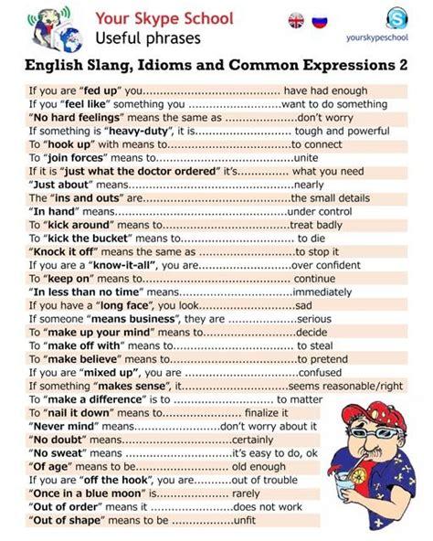Idioms And Slangs slang idioms and expressions