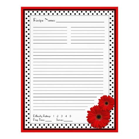 red gerbera polka dot binder recipe inserts flyer zazzle