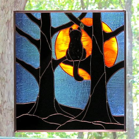 stained glass cat stained glass black cat full hunter s moon hanging panel
