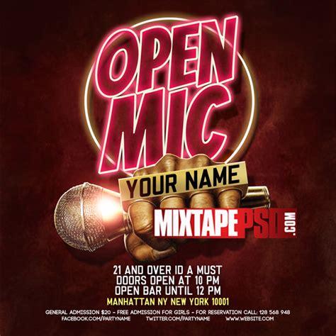 Flyer Psd Template Open Mic 2 Mixtapepsd Com Open Mic Poster Template