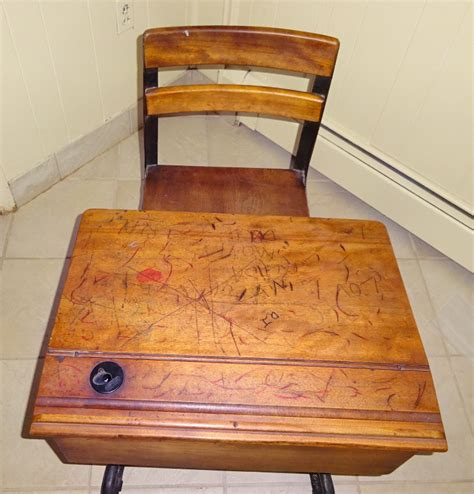 antique school desk with inkwell