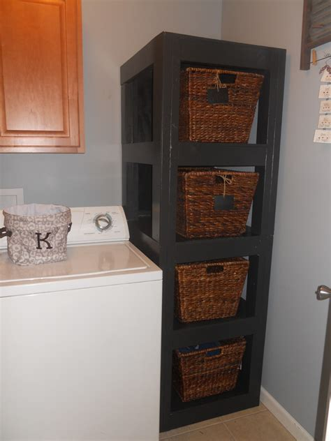 Laundry Basket Shelf by Adventures In Treasure Diy Laundry Basket Shelf