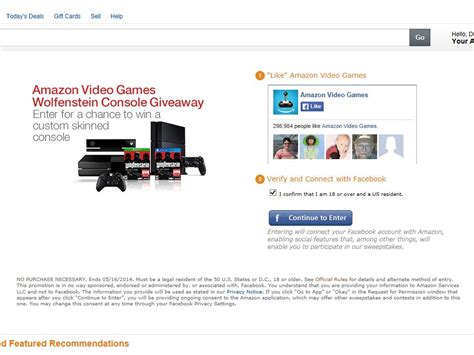 Game Console Giveaway - amazon video games wolfenstein console giveaway sweepstakes