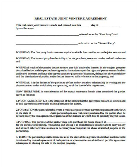 real estate joint venture agreement template 41 free sle agreements