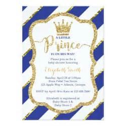 prince baby shower invitation blue gold card zazzle