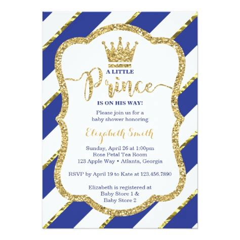 Little Prince Baby Shower Invitation Blue Gold Card Zazzle Free Royal Prince Baby Shower Invitation Template