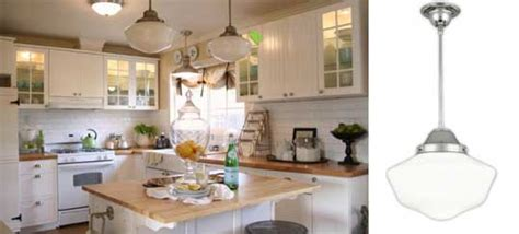 schoolhouse pendants in old cottage kitchen blog