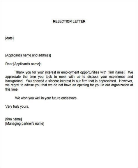 employment rejection letters sample