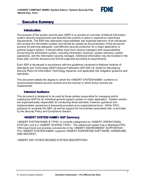information system security plan template it security plan template