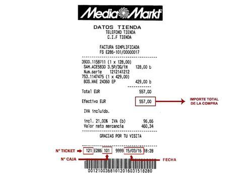 ejemplo de ticket de compra solicita tu factura mediamarkt