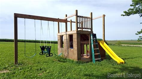 how to build a swing set with slide diy playhouse swing set update part 2 reality daydream