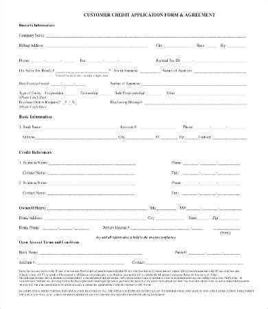 Consumer Credit Application Form Template by Business Credit Application Form 11 Free Word Pdf