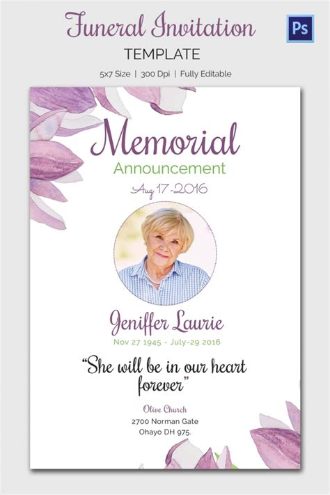 funeral service cards template card invitation ideas celebration memorial service