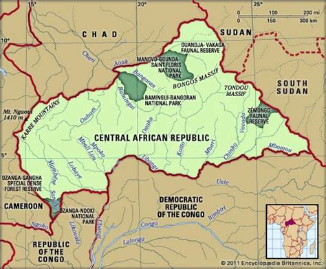 physical map of central africa central republic history geography