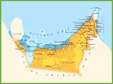 arab emirates map road map of united arab emirates