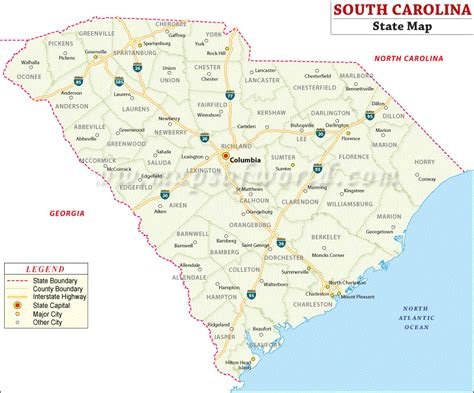 south carolina map united states map map of usa
