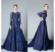 Elie Saab 2016 Blue Beaded Appliques Long Sleeve Evening