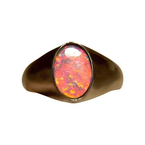 black opal mens mens red opal ring 14k gold flashopal