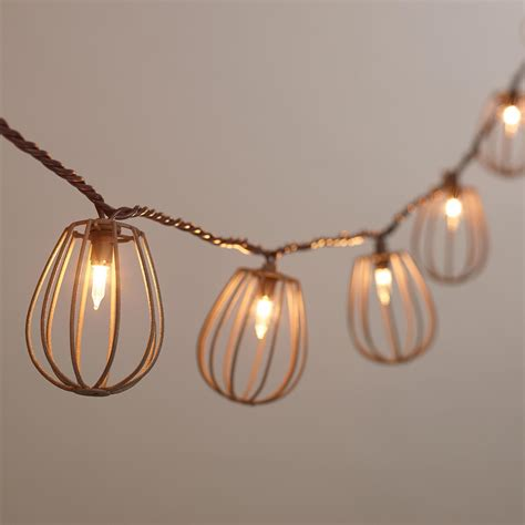 rustic string lights rustic wire cage 10 bulb string lights world market