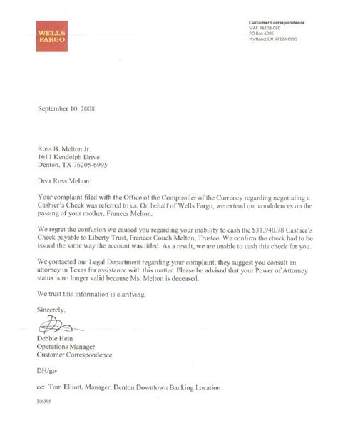 Fargo Bank Letter Of Credit Department Fargo Won T