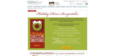Countrydoor Com Sweepstakes - country door holiday d 233 cor sweepstakes win up to 10 000 in holiday accents