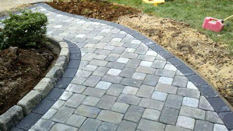 Gray Brick Pavers Grey Concrete Paver Brick Walkway With Single Border