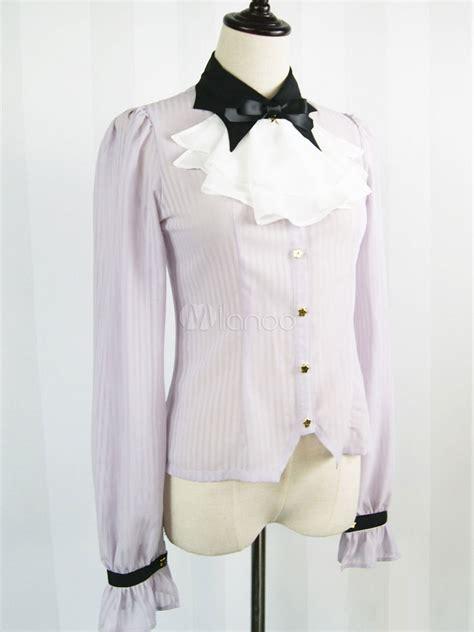 Olita Blouse shirt chiffon stripe blouse