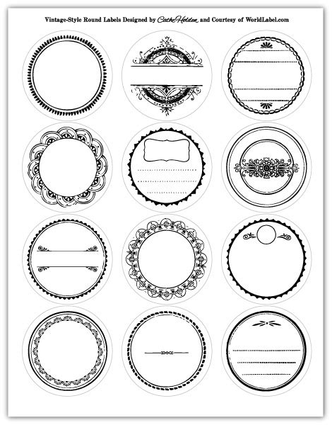 Circle Label Template Free labels in a vintage style design worldlabel