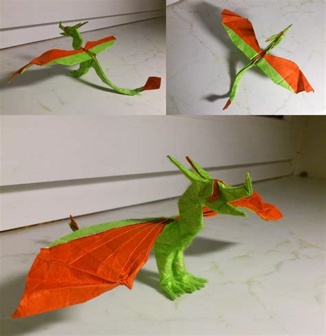 Origami Wyvern - simple wyvern with claws by palaeorigamipete on deviantart