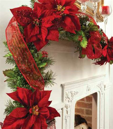 how to make a christmas yard poinsettia lighted garland trimmed with poinsettia joann jo