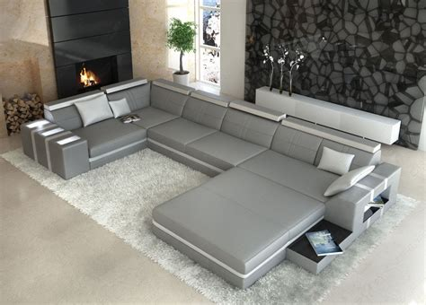 U Shaped Leather Sofa Ledersofa Asti U Form Grau Weiss Wohnlandschaft