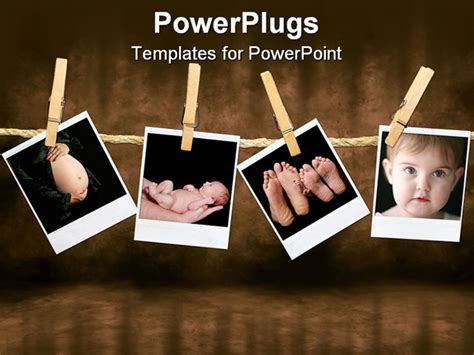 powerpoint templates free photo album polaroid photos of an newborn infant and pregnancy shots