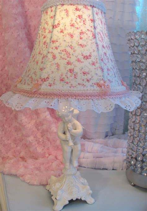 7 quot lamp shade r ashwell blue pink roses shabby chic fabric