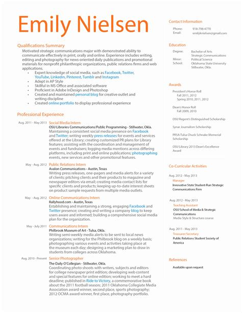 Extracurricular Activities Resume by Extracurricular Activities Resume Sle 28 Images