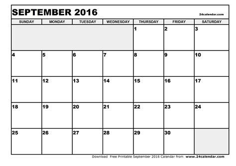 Calendar Printable 2016 Blank Blank September 2016 Calendar In Printable Format