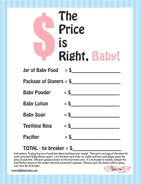 the price is right baby shower game blue