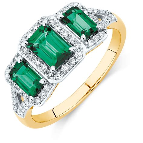 Three Ring by Three Ring With Created Emerald And 1 4 Carat Tw Of