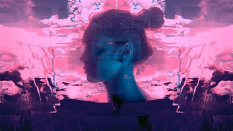 women hair bun closed eyes glitch art vaporwave