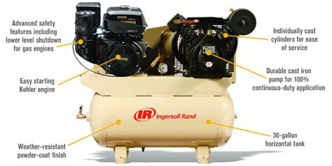 ingersoll rand portable 2 stage 14hp gas driven air compressor