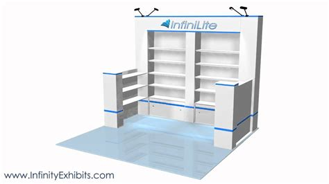 trade show display shelving 10ft multi 4 section with wall shelf trade show