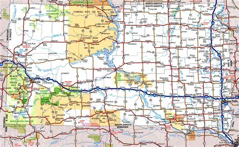 Printable South Dakota Road Map | south dakota road map