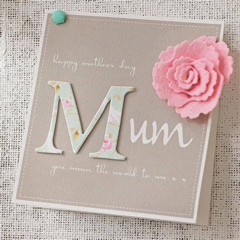 mom cards personalised felt flower mother s day card