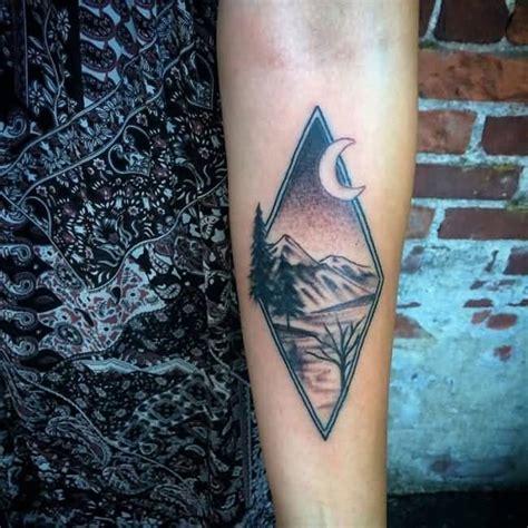 Diamond Nature Tattoo   beautiful mountains night view in diamond shape tattoo on