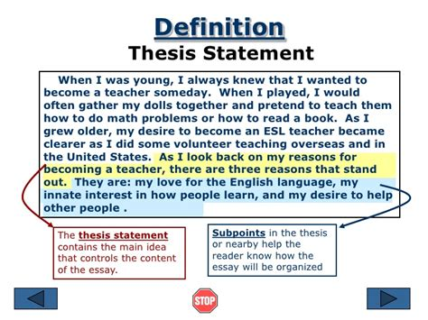 the definition of a thesis statement essay thesis statement definition