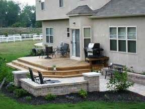 Patio Grade low to grade deck and patio with built in bend seating