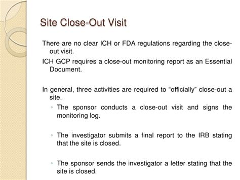 Closing Follow Up Letter Monitoring Visits