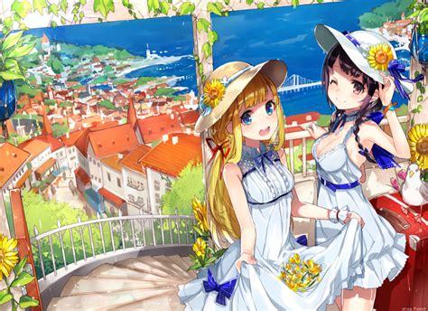 anime girl summer wallpaper wallpaper anime girls summer city landscape ocean
